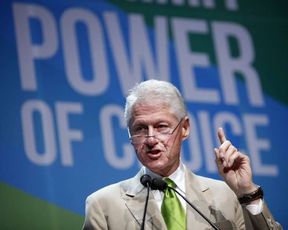 Former President Bill Clinton speaks at the National Clean Energy Summit in Las Vegas Tuesday, Aug. 7, 2012. (John Locher / Associated Press)