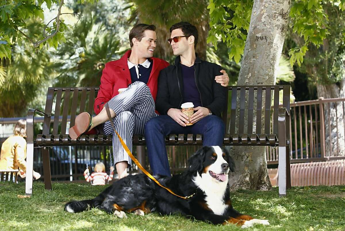 """THE NEW NORMAL -- """"Pilot"""" -- Pictured: (l-r) Andrew Rannells as Bryan; Justin Bartha as David"""