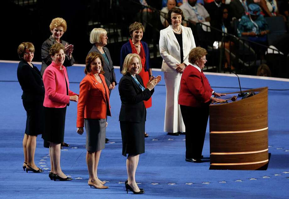 Sen. Barbara Mikulski of Maryland is surround by the other Democratic women of the Senate as she addresses the Democratic National Convention in Charlotte, N.C., on Wednesday, Sept. 5, 2012. (AP Photo/Carolyn Kaster) Photo: Carolyn Kaster