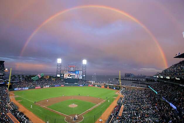 General view of AT&T Park with a rainbow in the background during the first inning between the San Francisco Giants and the Arizona Diamondbacks on September 5, 2012 in San Francisco. Photo: Jason O. Watson, Getty Images