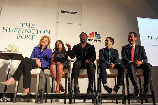 "Mayor Julian Castro, far right, participates in a panel entitled, ""What Is Working"" with Arianna Huffington, from left, actor Rosario Dawson, musician will.i.am and Jeremy Heimans, CEO of Purpose, in a joint event with The Huffington Post, NBC News and Microsoft at The Ritz-Carlton the morning after his keynote speech during the Democratic National Convention in Charlotte, NC on Wednesday, Sept. 5, 2012. Photo: Lisa Krantz, San Antonio Express-News / San Antonio Express-News"