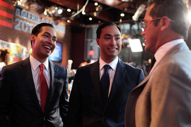 Mayor Julian Castro, right, and his brother, Joaquin Castro, center, talk with actor John Leguizamo, right, the morning after the mayor's keynote speech at CNN Grill during the Democratic National Convention in Charlotte, NC on Wednesday, Sept. 5, 2012. Photo: Lisa Krantz, San Antonio Express-News / San Antonio Express-News