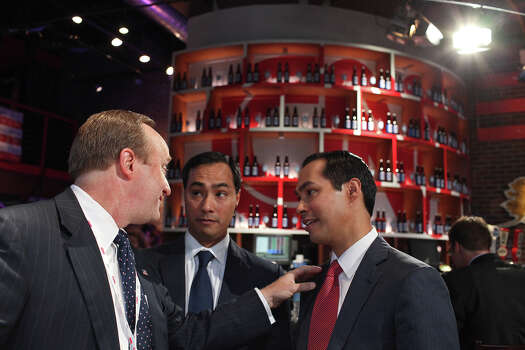 CNN political analyst Paul Begala, of Washington, D.C. via Austin, talks with Mayor Julian Castro, right, and Joaquin Castro, center, the morning after his keynote speech at CNN Grill during the Democratic National Convention in Charlotte, NC on Wednesday, Sept. 5, 2012. Photo: Lisa Krantz, San Antonio Express-News / San Antonio Express-News