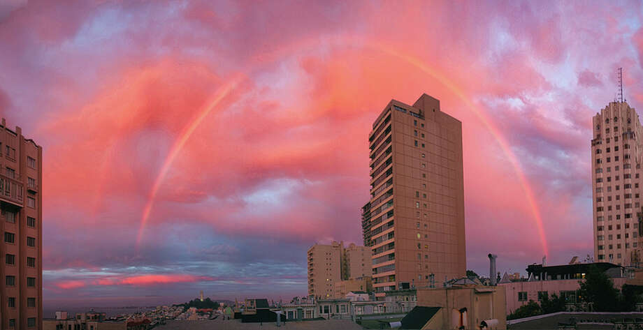 A rare double rainbow graced the skies over San Francisco just before sunset on Wednesday. Photo: Courtesy Of Matt DuPont