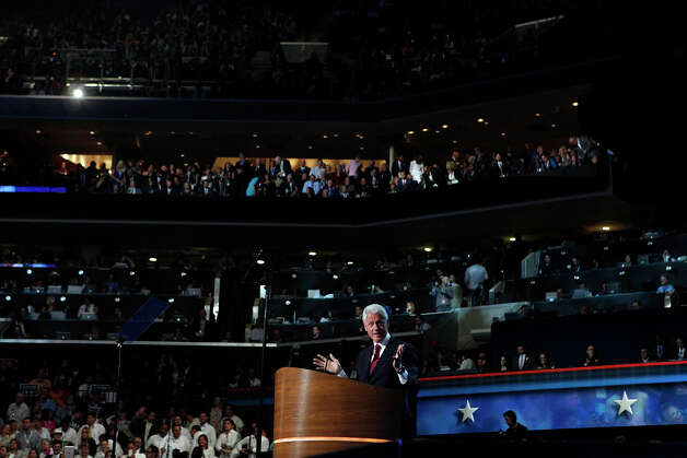 Former President Bill Clinton speaks during the Democratic National Convention at Time Warner Cable Arena in Charlotte, NC on Wednesday, Sept. 5, 2012. Photo: Lisa Krantz, San Antonio Express-News / San Antonio Express-News