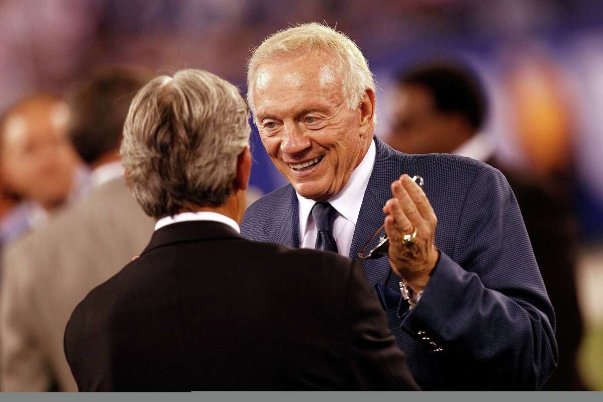 EAST RUTHERFORD, NJ - SEPTEMBER 05: Dallas Cowboys Jerry Jones talks on the field prior to the 2012 NFL season opener between the New York Giants and the Dallas Cowboys at MetLife Stadium on September 5, 2012 in East Rutherford, New Jersey.
