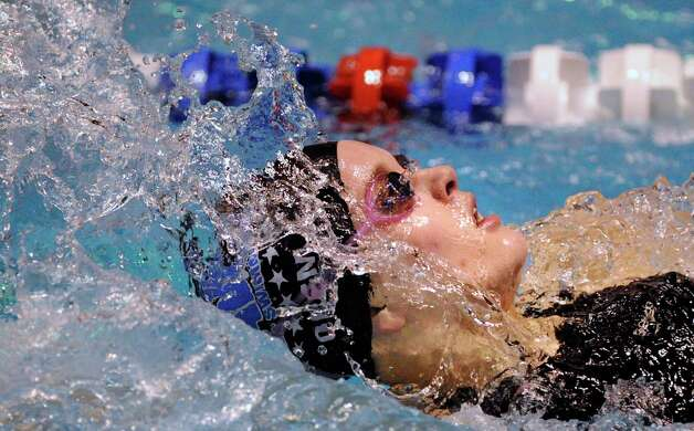 Caroline Orem of Darien High School competes in the 200 yard IM during the CIAC State Open Girls Swimming Championship at Yale University, New Haven, Conn., Saturday afternoon, Nov. 20, 2010. Photo: Bob Luckey, ST / Greenwich Time