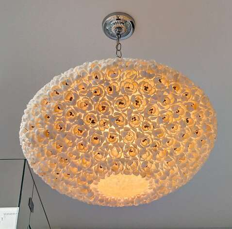 The unique light fixture in the master bathroom. Photo: Dan Friedman