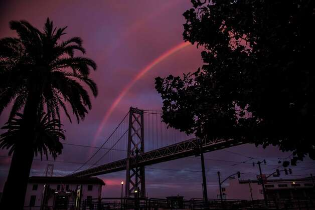 The double rainbow over the Bay Bridge. Photo: Phil McGrew, Courtesy Phil McGrew / Copyright