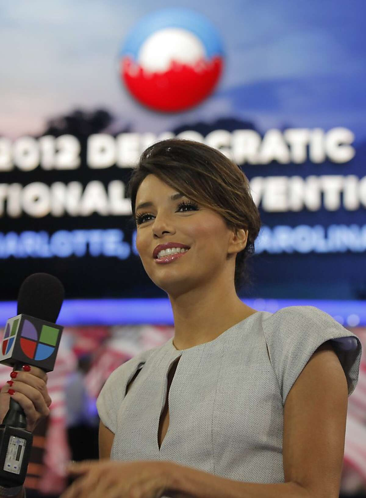 Actress Eva Longoria is interviewed on the floor of the Democratic National Convention in Charlotte, N.C., Thursday, Sept. 6, 2012.