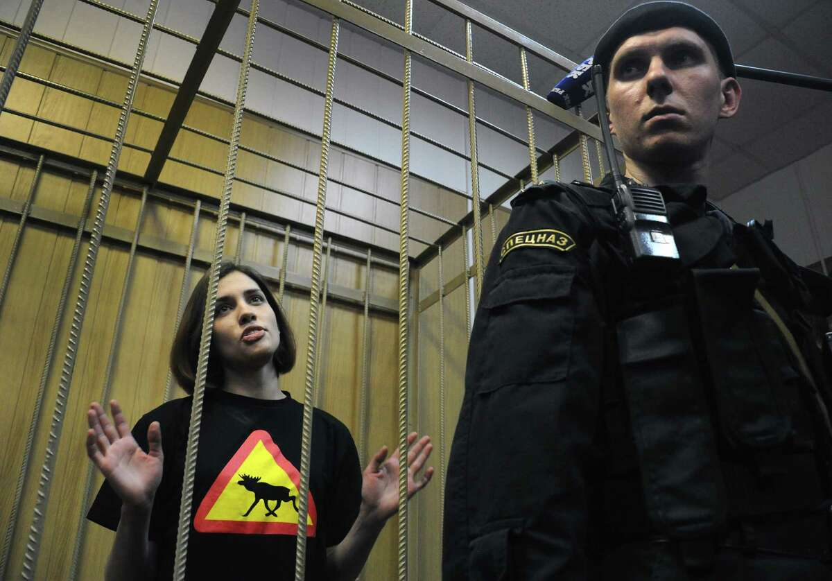Pussy Riot: Three members of the Russian punk-rock collective are behind bars for hooliganism after playing an anti-Vladimir Putin set in a Moscow cathedral. (Photo by ALEXANDER NEMENOV/AFP/GettyImages)