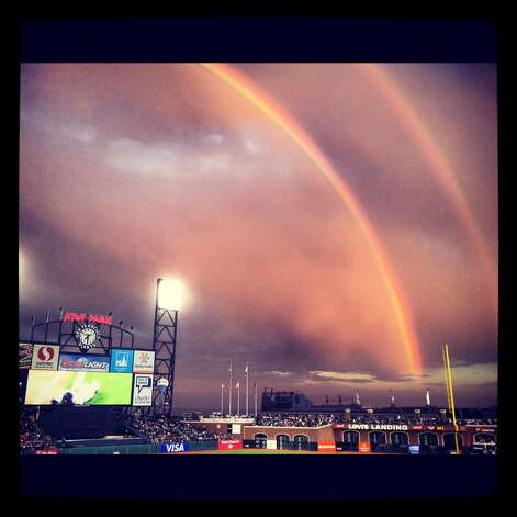 Double rainbow over AT&T park in San Francisco. Photo: Courtesy Jason Rodman