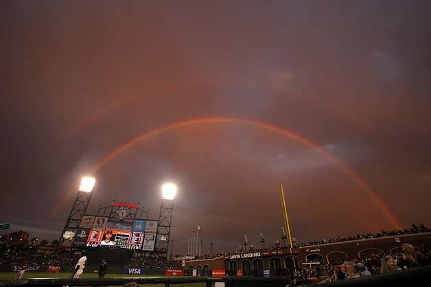 A double rainbow delighted spectators as the San Francisco Giants played the Arizona Diamondbacks at AT&T Park in San Francisco, Calif., on Wednesday, September 5, 2012. Photo: Carlos Avila Gonzalez, The Chronicle