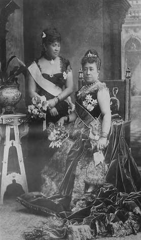 Future Queen Liliuokalani (standing) and her sister-in-law, Queen Kapiolani, attended Queen Victoria's Golden Jubilee in 1887. Photo: Bishop Museum