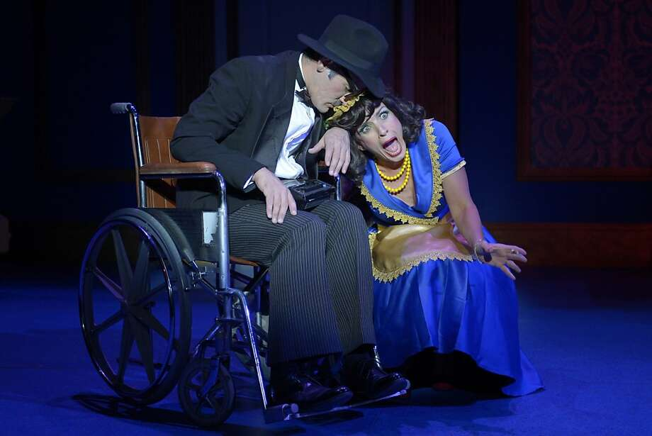 "Rita La Porta (Lynda DiVito) woos dearly departed Uncle Anthony (Joel Roster) in ""Lucky Stiff."" Photo: Kevin Berne"