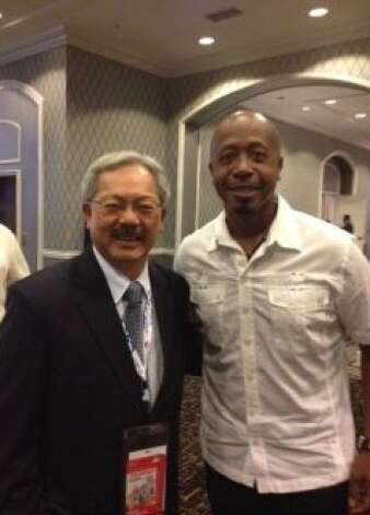 SF Mayor Ed Lee and MC Hammer together again, at DNC, Charlotte, N.C. Photo: Joe Garofoli, San Francisco Chronicle