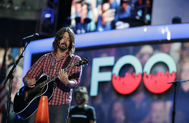Dave Grohl and Foo Fighters perform during a sound check at the Democratic National Convention in Charlotte, N.C., on Thursday, Sept. 6, 2012. Photo: David Goldman, Associated Press