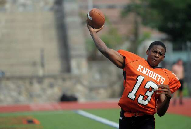 Stamford High School quarterback Jalen Brown poses for a photo on Thursday, September 6, 2012. Photo: Lindsay Niegelberg / Stamford Advocate