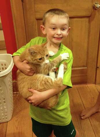 Everett Wilkinson, 6, is reunited with his cat, Peach, who had been missing since the explosion Aug. 29, 2012. Photo: Contributed Photo