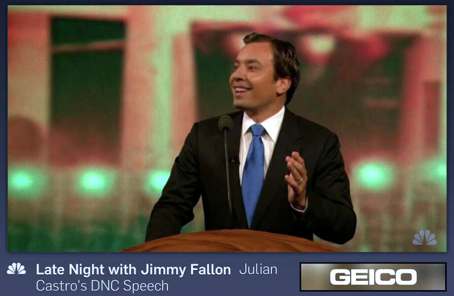 A screen shot from comedian Jimmy Fallon impersonating San Antonio Mayor Julian Castro during his NBC Late Night show.