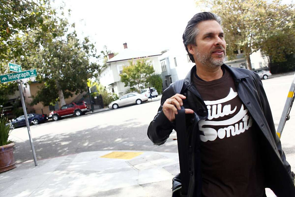 Author Michael Chabon leaves the record store,