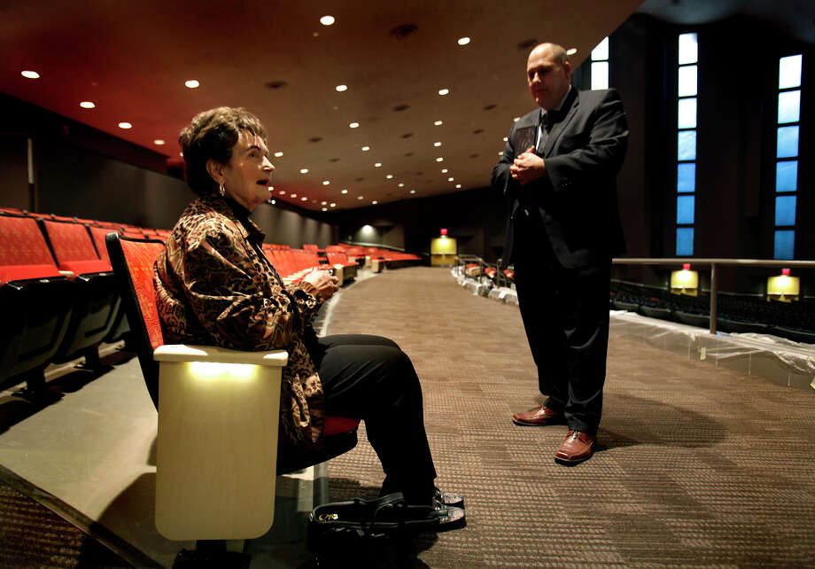 Former Mayor Lila Cockrell tells a story of opening night of the theatre that now bears her name, to Jim Mery, Assistant Director of Convention, Sports, and Entertainment Facilities, as he gave her a tour of to see the renovations that have been completed, Wednesday, Nov. 10, 2010. Photo: BOB OWEN, Express-News / SAN ANTONIO EXPRESS-NEWS