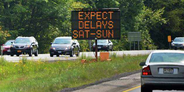 Highway sign along I87 just north of the Twin Bridges Thursday Sept. 6, 2012, warns of weekend construction work as traffic lanes will be rerouted over the bridge.  (John Carl D'Annibale / Times Union) Photo: John Carl D'Annibale / 00019163A