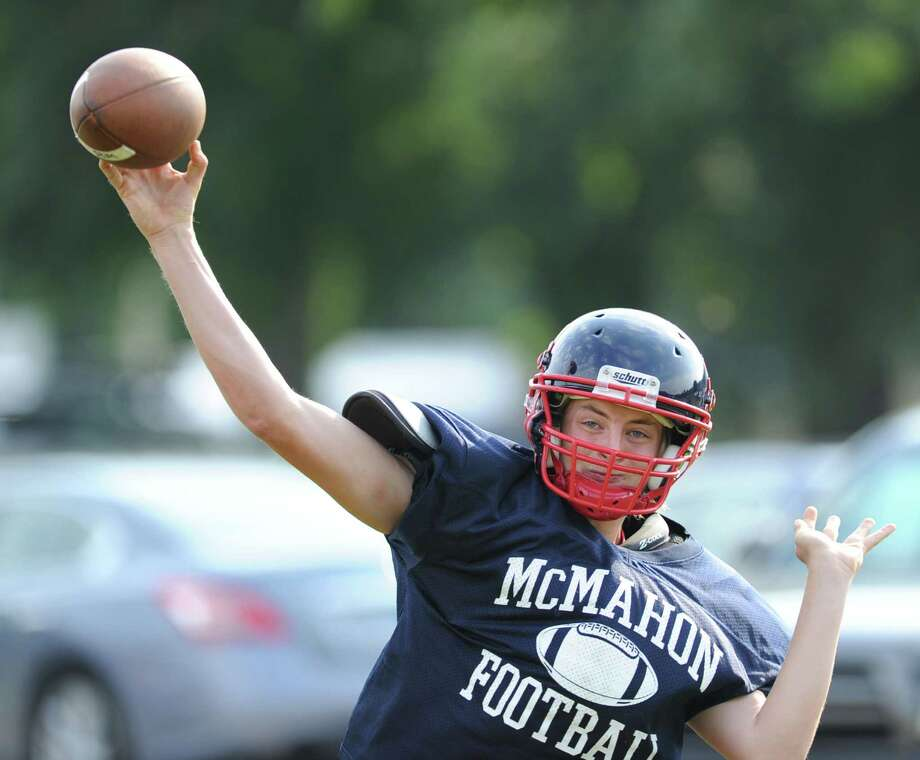 Brien McMahon quarterback Trey Newcomb during the high School football jamboree at Wilton High School, Saturday morning, Sept. 1, 2012. Photo: Bob Luckey / Greenwich Time