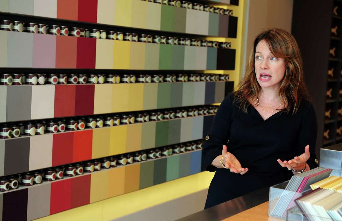Christine Klotz, Tri-State lead showroom manager, talks about the company's paint colors at the new Farrow & Ball showroom in Westport, Conn. Wednesday, Sept. 5, 2012.