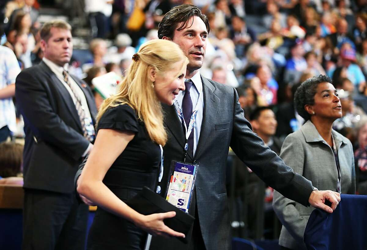 CHARLOTTE, NC - SEPTEMBER 06: Actor Jon Hamm (R) and Jennifer Westfeldt attend the final day of the Democratic National Convention at Time Warner Cable Arena on September 6, 2012 in Charlotte, North Carolina. The DNC, which concludes today, nominated U.S. President Barack Obama as the Democratic presidential candidate.