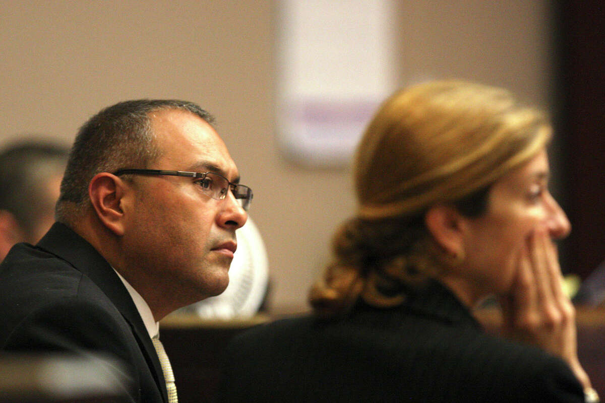 Gilbert John Sullaway, Jr., left, and attorney Stephanie Stevens, listen to testimony during his criminally negligent homicide trial before 144th State District Court Judge Angus McGinty, Thursday, Sept. 6, 2012. Closing arguments will start Friday after the defense rested their case. Sullaway, 43, is accused of swerving off State Highway 16 near Helotes and onto an improved shoulder, hitting and killing Gregory and Alexandra Bruehler as they rode a tandem bicycle on Oct. 1, 2009. Sullaway is facing up to 10 years behind bars if found guilty.