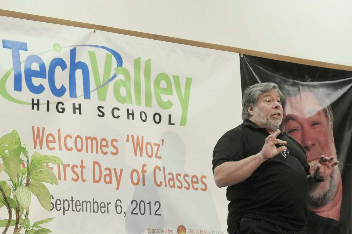 Steve Wozniak, co-founder of Apple computers, addresses students, faculty, staff and guests at Tech Valley High School on Thursday, Sept. 6, 2012 in Rensselaer, NY. Wozniak took a student led tour of the school before giving a talk and answering questions from the students. Wozniak was the featured speaker on the first day of classes for students. (Paul Buckowski / Times Union)