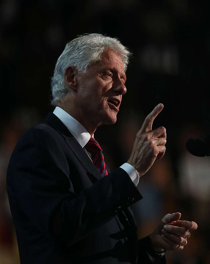 Bill Clinton's speech was popular with Democrats, but some comments could be challenged. Photo: Justin Sullivan, Getty Images