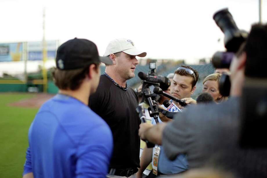 Roger Clemens and his son Koby talk to members of the media during a workout, Thursday, September 6, 2012 at Constellation Field in Sugar Land, Texas. Photo: TODD SPOTH, For The Chronicle / Todd Spoth