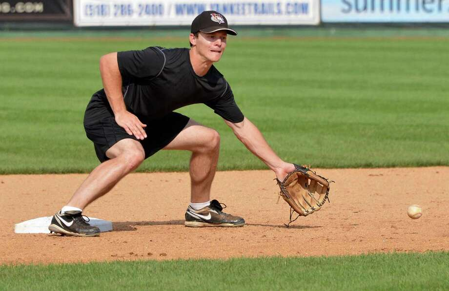 "ValleyCats 2nd baseman Austin ""Catfish"" Elkins during fielding practice at the Joe in Troy Thursday Sept. 6, 2012,in preparation for the New York Penn League playoffs, which begin Friday. (John Carl D'Annibale / Times Union) Photo: John Carl D'Annibale / 00019162A"
