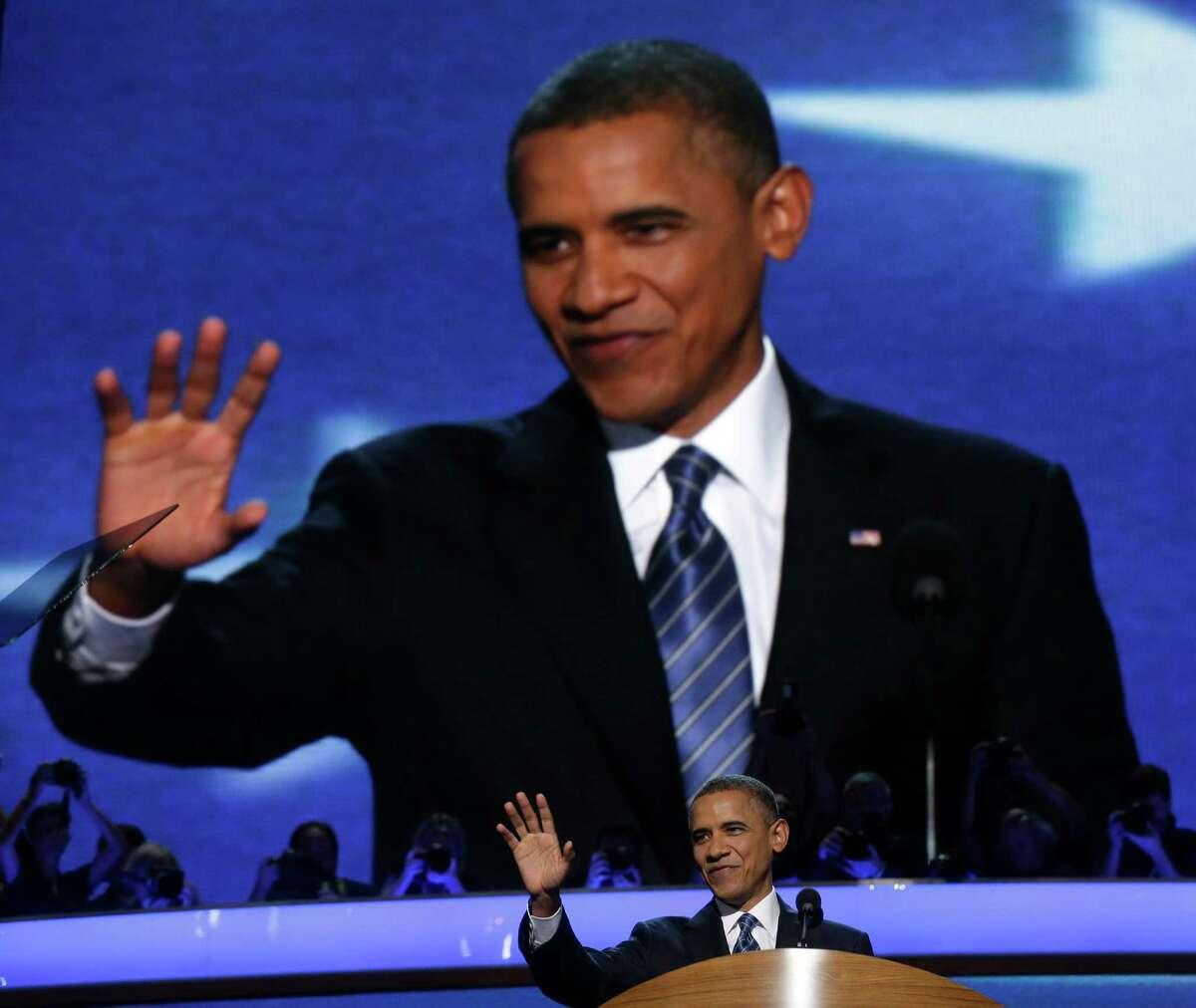 President Barack Obama addresses the Democratic National Convention in Charlotte, N.C., on Thursday, Sept. 6, 2012. (AP Photo/Charles Dharapak)