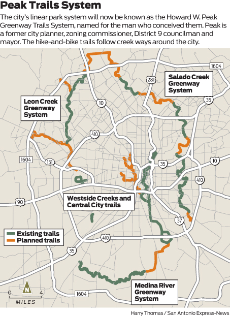 san antonio bike trails map Council Oks Naming Trail System After Former Mayor San Antonio san antonio bike trails map