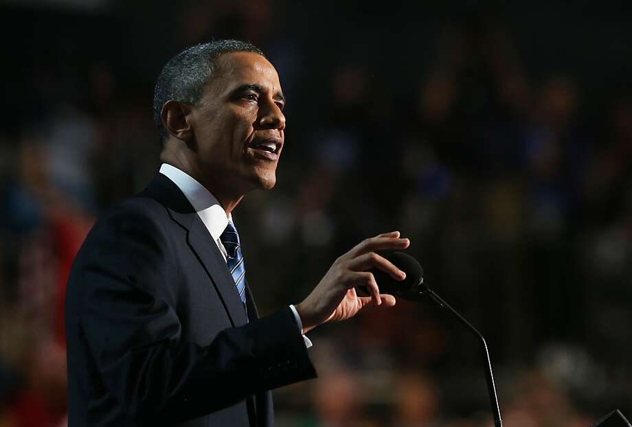 President Obama exhorts delegates at the Democratic convention in Charlotte, N.C., to support him at the polls Nov. 6. Photo: Justin Sullivan, Getty Images