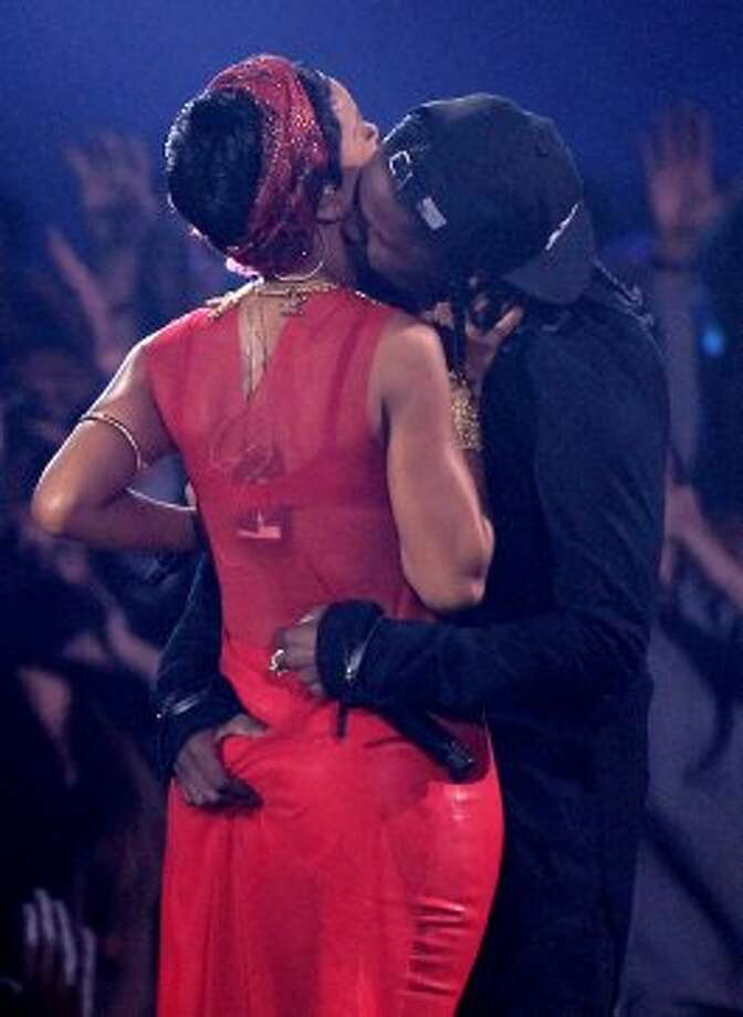 A$AP Rocky did get a little intimate with Rihanna during their performance. (Matt Sayles / Associated Press)