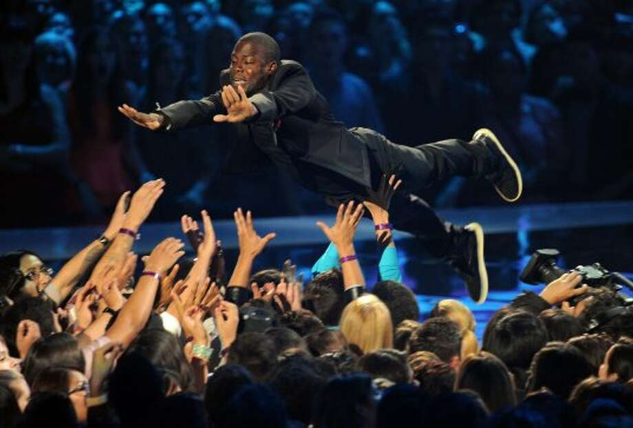Host Kevin Hart crowd surfs during the 2012 MTV Video Music Awards at Staples Center on September 6, 2012 in Los Angeles, California.   (Kevin Winter / Getty Images)