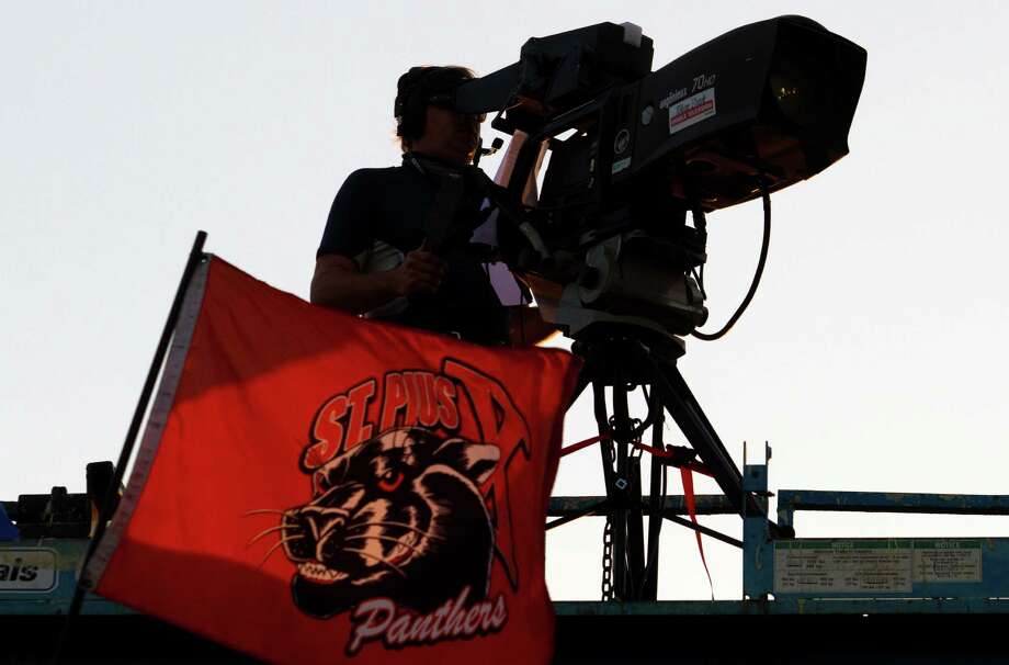An ESPN camera sits on top of Parsley Field as St. Pius faces off with Sealy on Thursday, Sept. 6, 2012, in Houston. Photo: J. Patric Schneider, Houston Chronicle / © 2012 Houston Chronicle