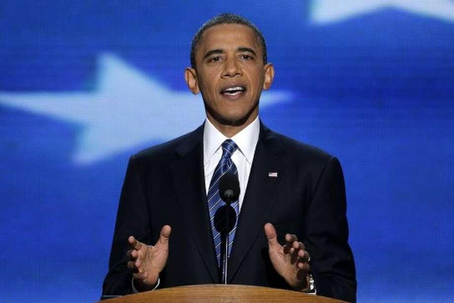 President Barack Obama addresses the Democratic National Convention in Charlotte, N.C., on Thursday, Sept. 6, 2012. (AP Photo/J. Scott Applewhite) (J. Scott Applewhite / Associated Press)