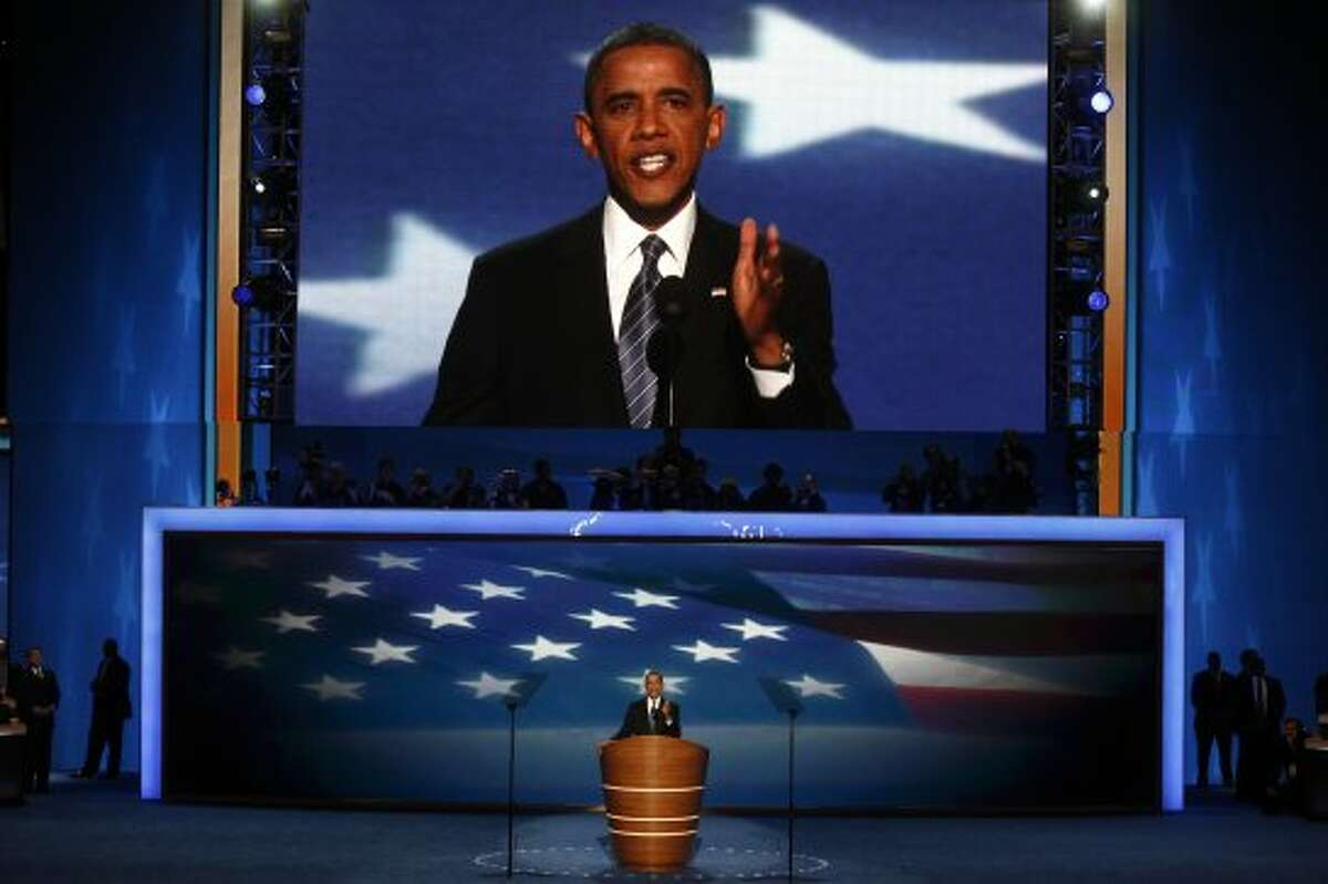 President Barack Obama speaks during the Democratic National Convention at the Time Warner Cable Arena in Charlotte, N.C., Sept. 6, 2012. (Luke Sharrett/The New York Times) (LUKE SHARRETT / New York Times)