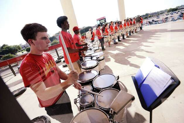 Lamar drum line warming up before the first pep rally at the Montagne Center on Thursday, September 6, 2012. Photo taken: Randy Edwards/The Enterprise