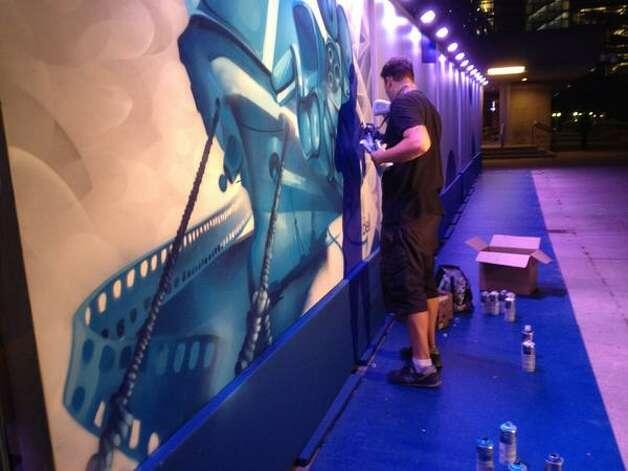 Live graffiti art at the Toronto International Film Festival. (Paul Grondahl/Times Union)