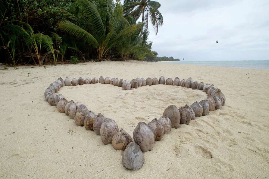 A heart shape made of coconuts is seen at a beach in Muri, Rarotonga, Cook Islands . (Marty Melville