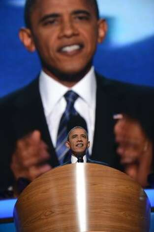 US President Barack Obama delivers his acceptance to run for a second term as president at the Time Warner Cable Arena in Charlotte, North Carolina, on September 6, 2012 on the final day of the Democratic National Convention (DNC).   AFP PHOTO  Robyn BECKROBYN BECK/AFP/GettyImages (AFP/Getty Images)