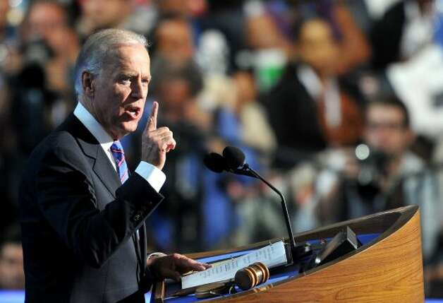 US Vice President Joe Biden gives his acceptance speech to run for a second term at the Time Warner Cable Arena in Charlotte, North Carolina, on September 6, 2012 on the final day of the Democratic National Convention (DNC). US President Barack Obama is expected to accept the nomination from the DNC to run for a second term as president later tonight.  AFP PHOTO  Mladen ANTONOVMLADEN ANTONOV/AFP/GettyImages (AFP/Getty Images)
