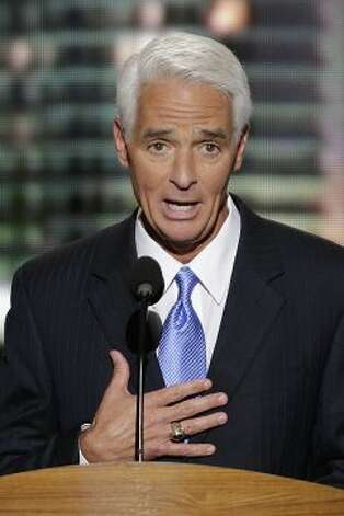Former Florida Republican Gov. Charlie Crist addresses the Democratic National Convention in Charlotte, N.C., on Thursday, Sept. 6, 2012. (AP Photo/J. Scott Applewhite) (Associated Press)