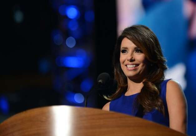 Obama Campaign Co-Chair Eva Longoria speaks to the audience at the Time Warner Cable Arena in Charlotte, North Carolina, on September 6, 2012 on the final day of the Democratic National Convention (DNC). US President Barack Obama is expected to accept the nomination from the DNC to run for a second term as president.  AFP PHOTO  Robyn BECKROBYN BECK/AFP/GettyImages (AFP/Getty Images)